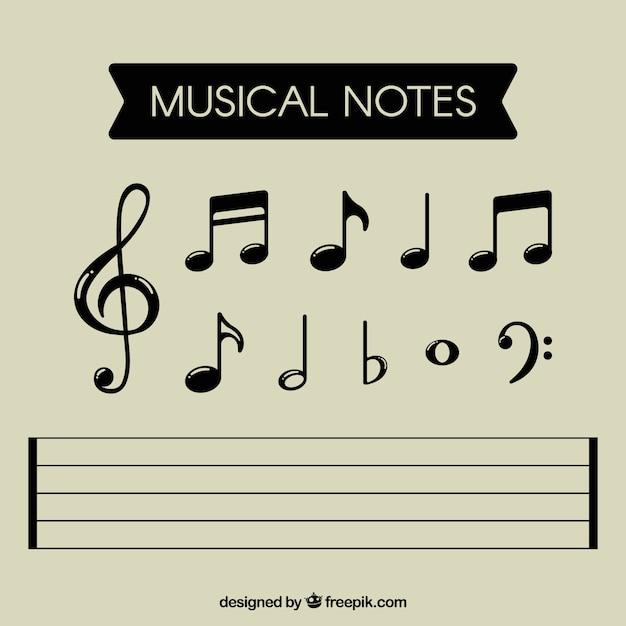 Raccolta di note musicali nere Vettore gratuito