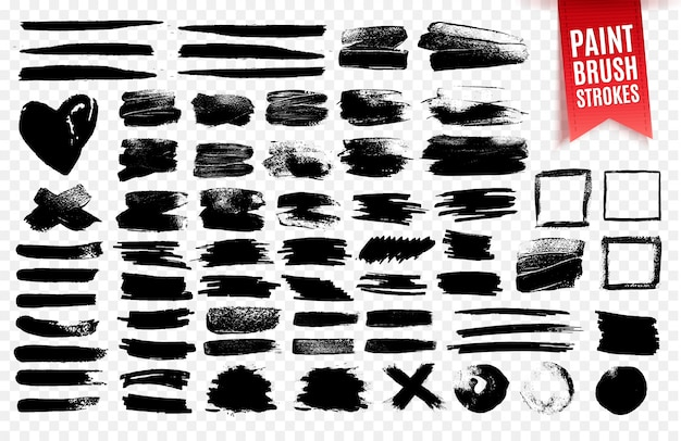 Collection of black paint brush strokes, grunge effect elements. Premium Vector