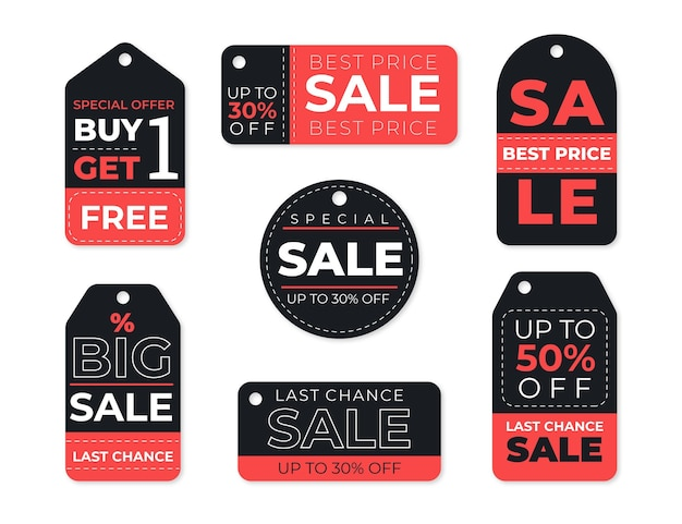 Collection of black and red sale tags Free Vector