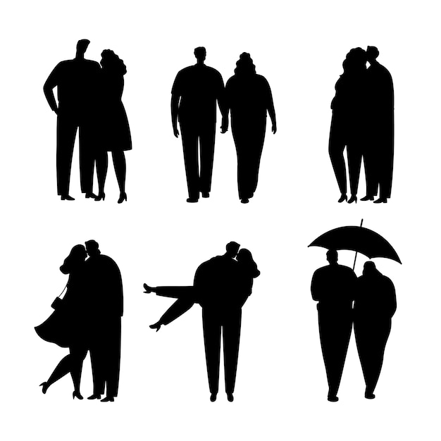 Collection of black silhouettes of couples in love Premium Vector