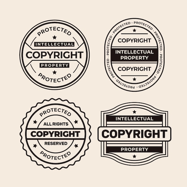 Collection of black and white copyright stamps Premium Vector