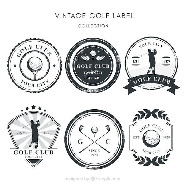 Collection of black and white golf labels Free Vector