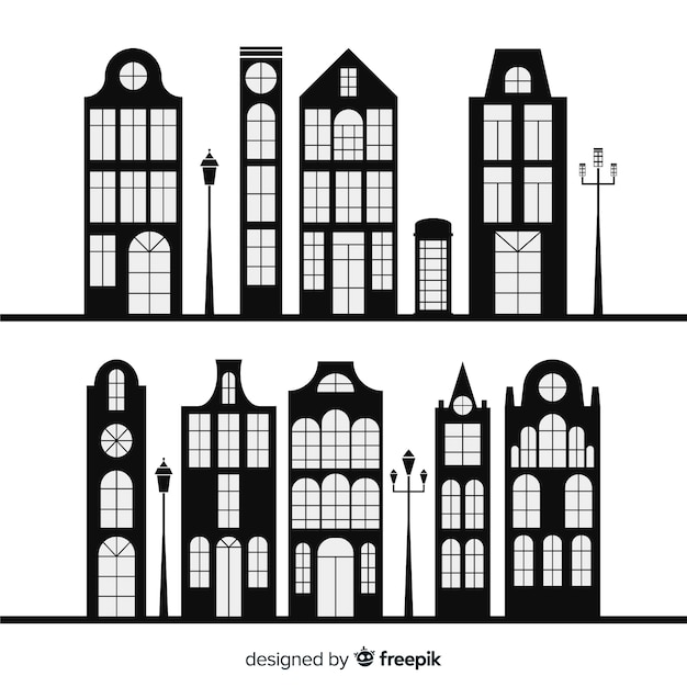 Collection of black and white houses Free Vector
