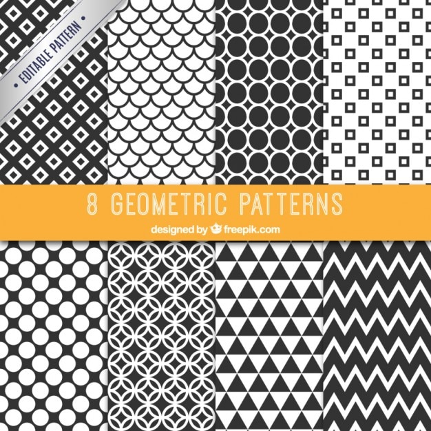 Collection of black and white patterns Free Vector