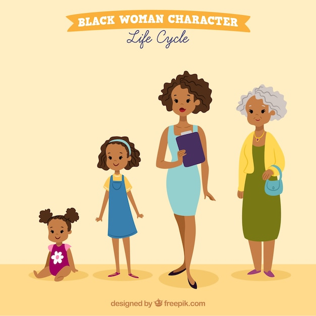 Collection of black women Free Vector