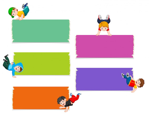 The collection of the blank board with the boys do workout Premium Vector