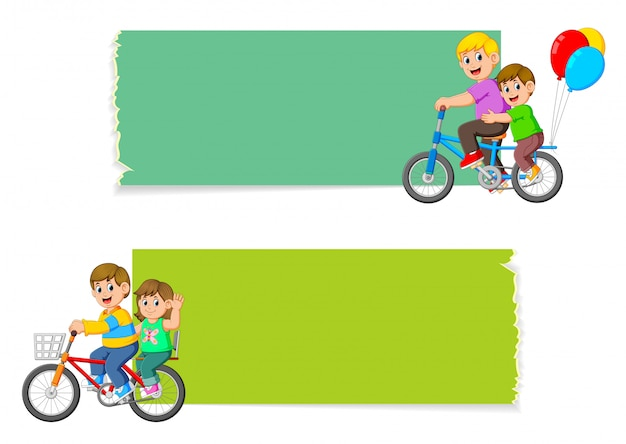 The collection of the blank board with the children riding the bicycle Premium Vector