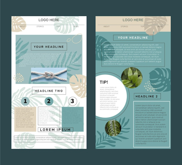 Collection of blogger email template with photos Free Vector