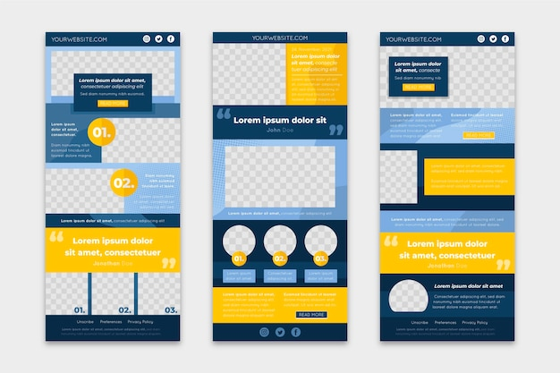 Collection of blogger email templates Free Vector