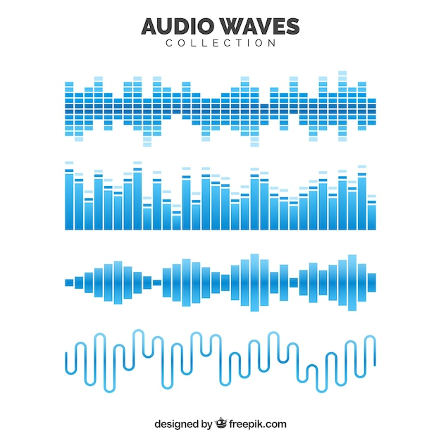 Collection of blue audio waves Free Vector
