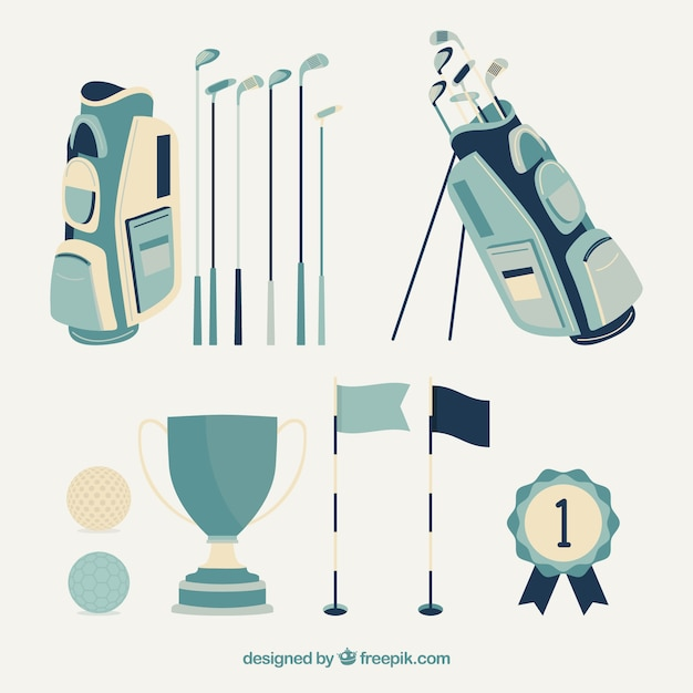 Collection of blue golf elements Free Vector