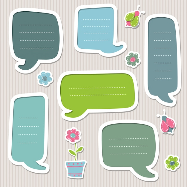 Collection of blue and green speech bubbles. cute frames. Premium Vector