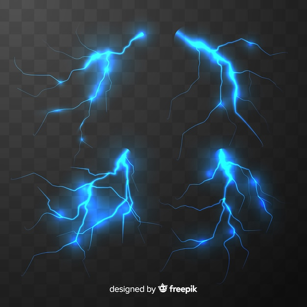 Collection of blue lightning on transparent background Premium Vector