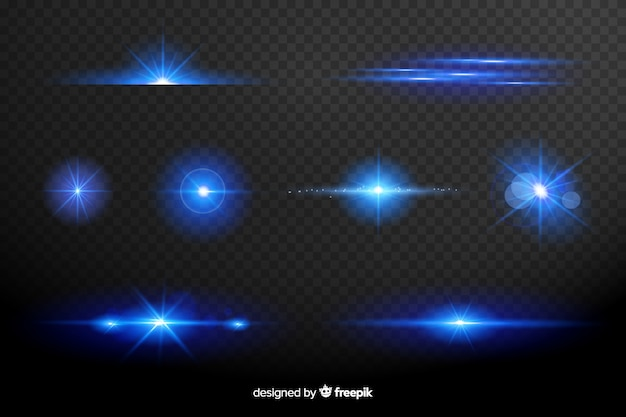 Collection of blue lights effect Free Vector
