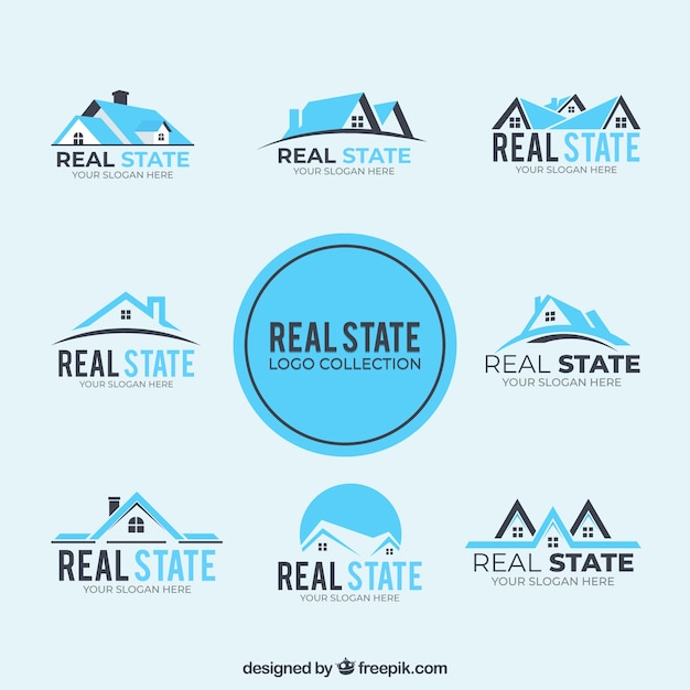 Collection of blue real estate logos Free Vector