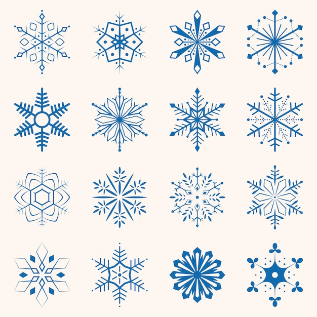 Collection of blue snowflakes. Premium Vector