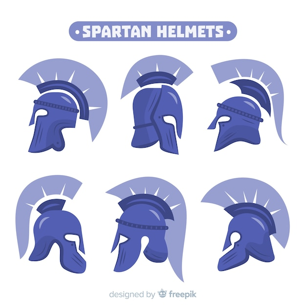 Collezione di caschi spartani blu Vettore gratuito