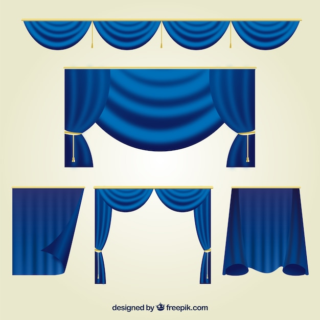 Collection of blue theater curtains Free Vector