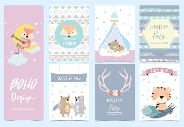 Collection of boho cards set Premium Vector
