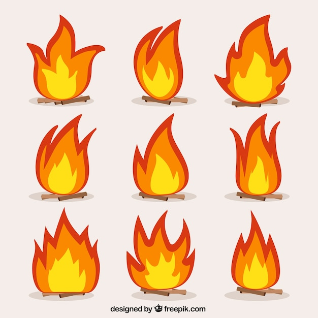 Collection of bonfires Free Vector