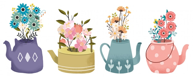 The collection of bouquet of flower in the teapot set. the spring flower. the teatime set. Premium Vector