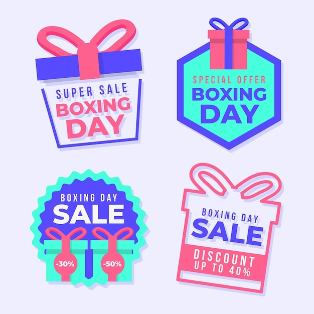 Collection of boxing day sale labels Premium Vector