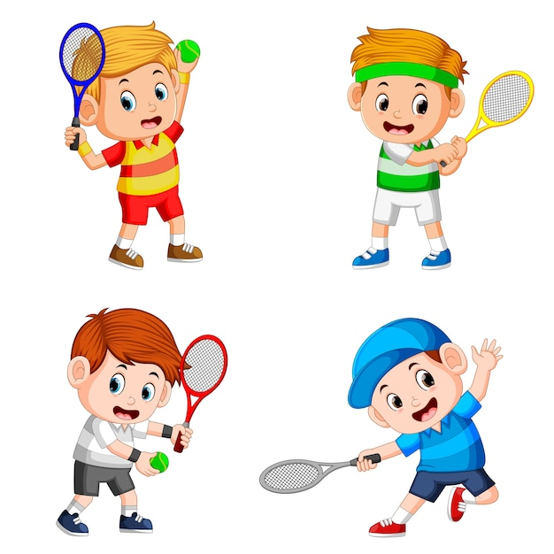 Collection of the boy action doing the tennis field with the good posing Premium Vector