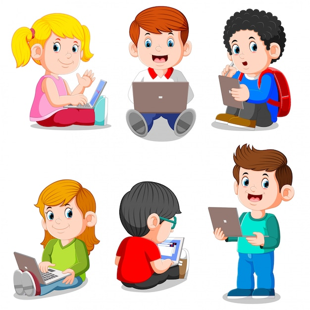 Collection of boy and girl studying with laptop and tablet Premium Vector