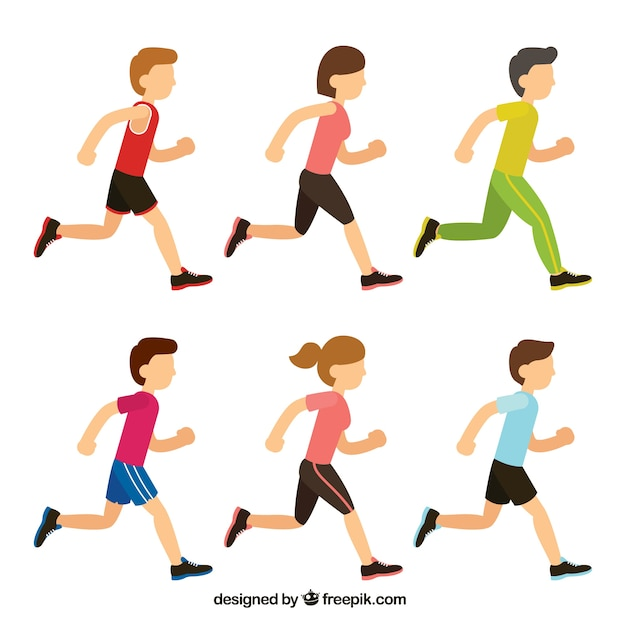 Premium Vector | Collection of boys and girls running