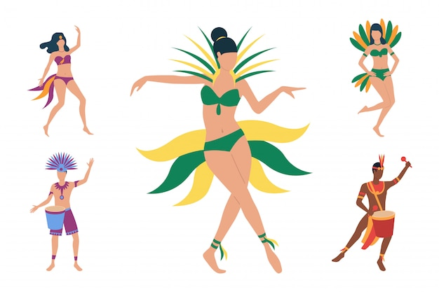 Collection of brazilian dancers in costumes Free Vector