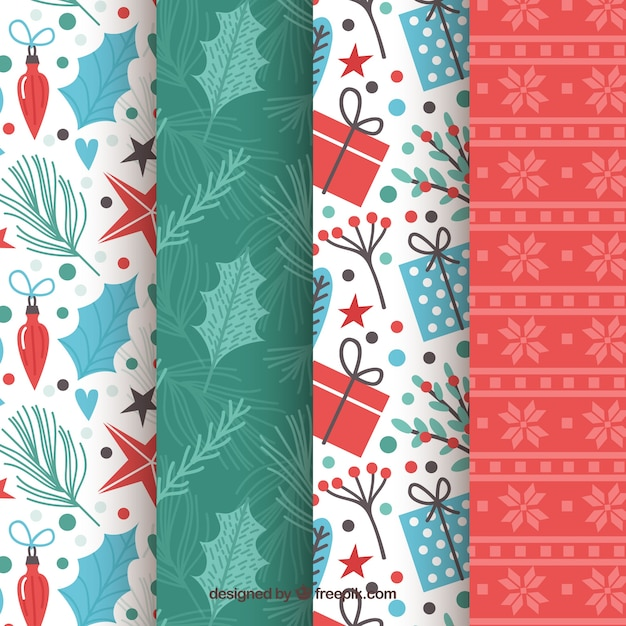 Collection of bright christmas patterns Free Vector