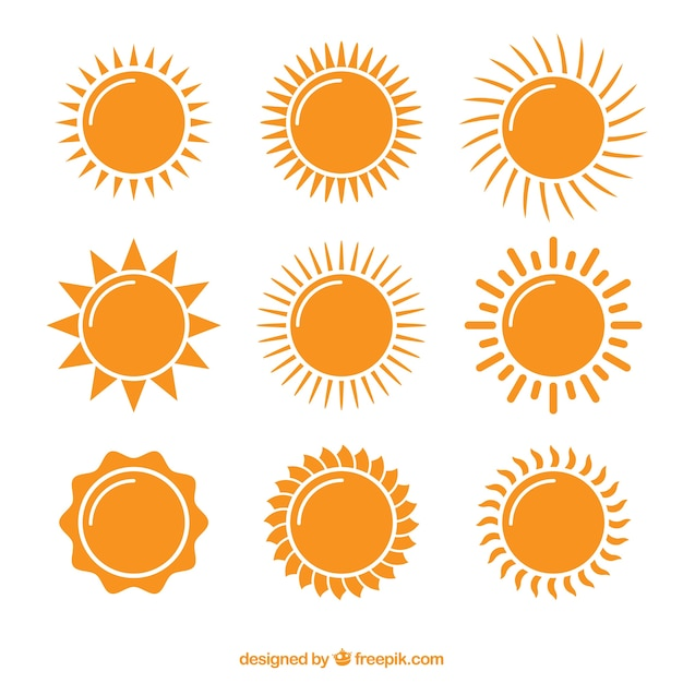 Collection of bright suns Free Vector