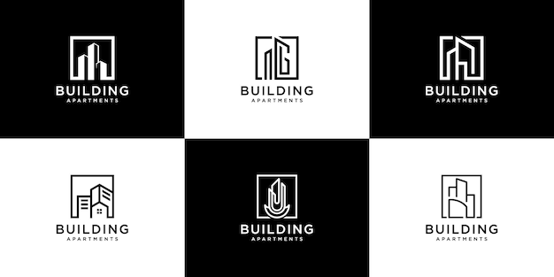Collection of building architecture sets, real estate logo Premium Vector