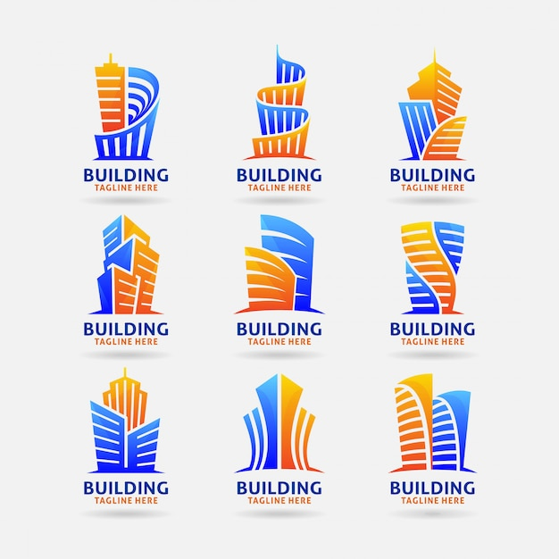 Collection of building logo Premium Vector