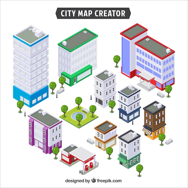 Collection of buildings to create a city Premium Vector