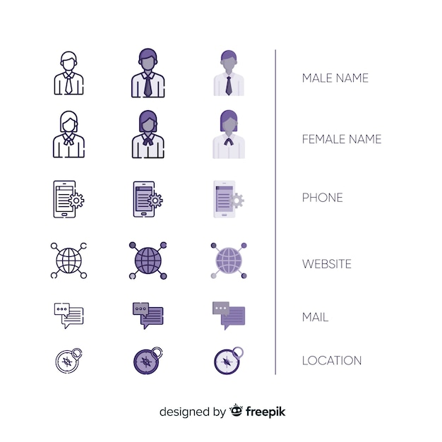 Collection of business card icons Free Vector