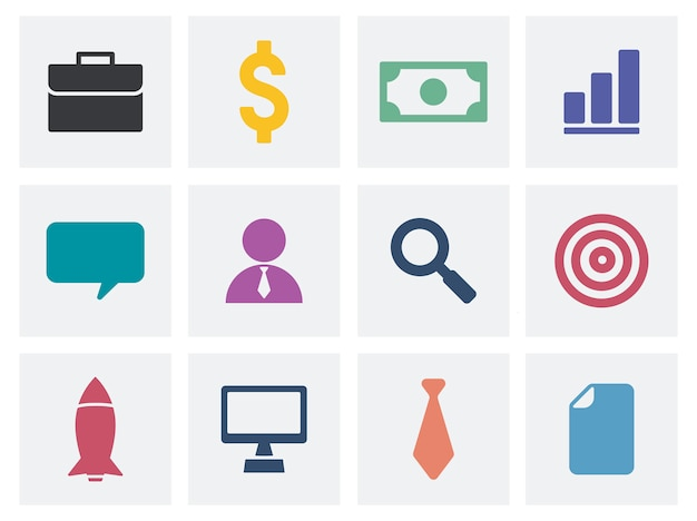 Collection of business icons illustration Free Vector