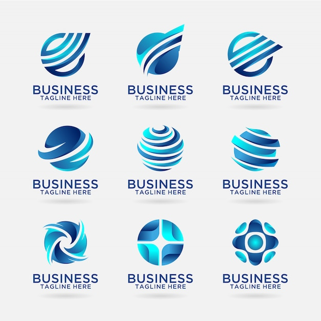 Collection of business logo designs Premium Vector