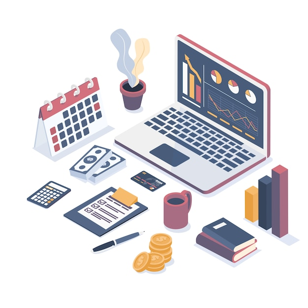 Collection of business objects. Premium Vector
