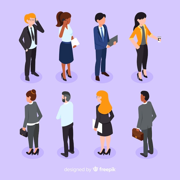 Collection of business people in isometric style Free Vector