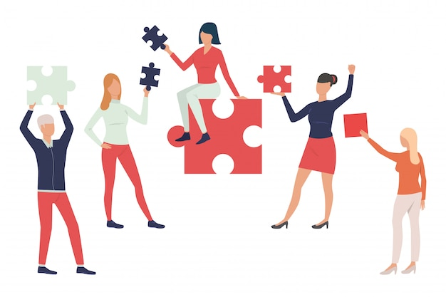 Collection of business people with puzzle pieces Free Vector