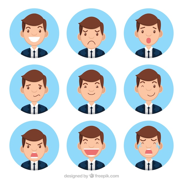 Collection of businessman character with nine expressive faces Free Vector