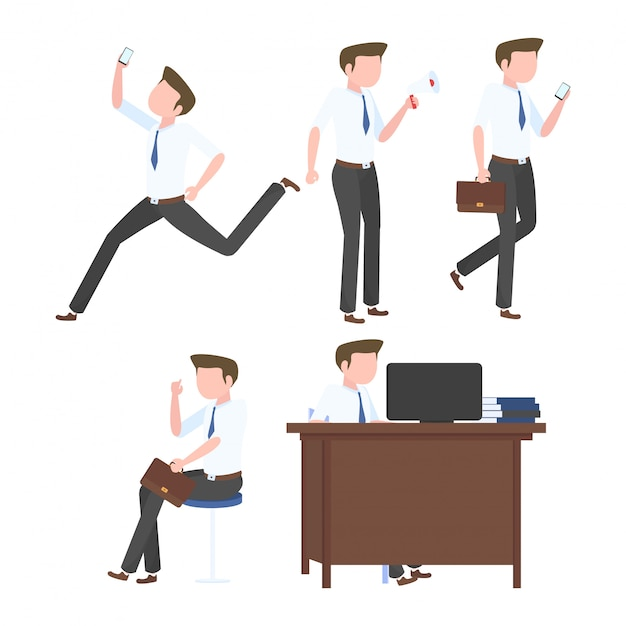 Collection of businessman in a flat style Premium Vector