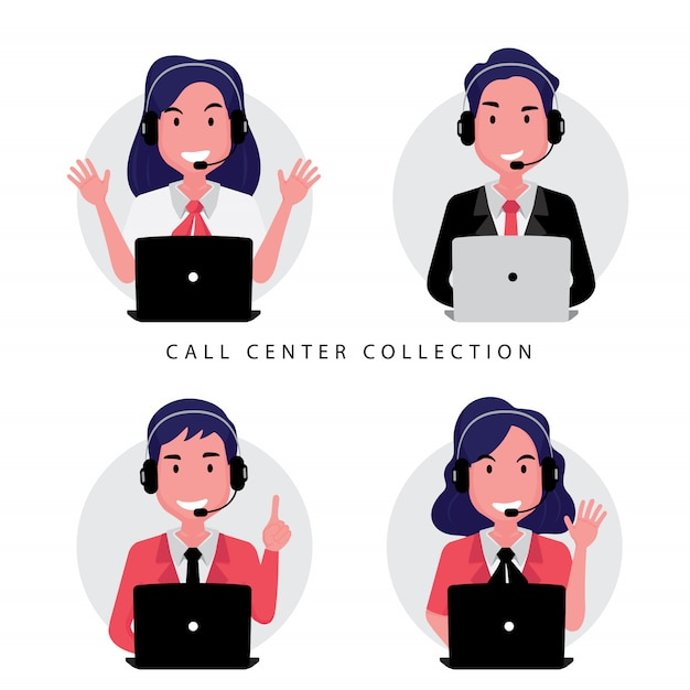A collection of call center or customer service staff including woman and man sitting in front of computer Premium Vector