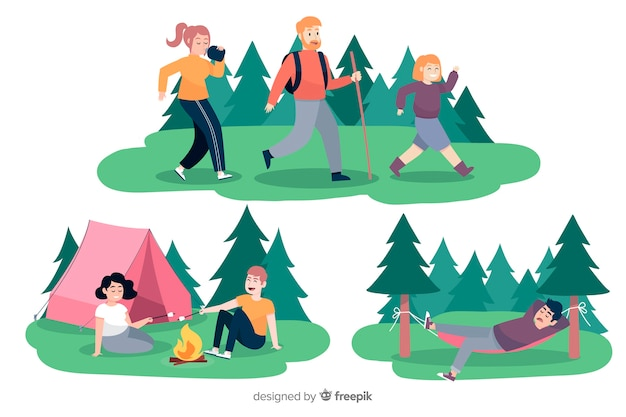Collection of camping people illustrated Free Vector