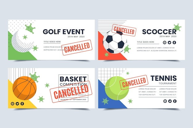 Collection of cancelled sporting events banners Free Vector