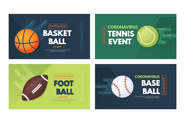 Collection of cancelled sporting events banners Premium Vector