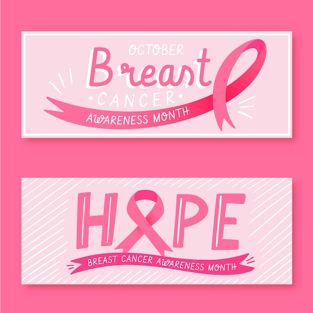 Collection ofcancer awareness month banners Premium Vector