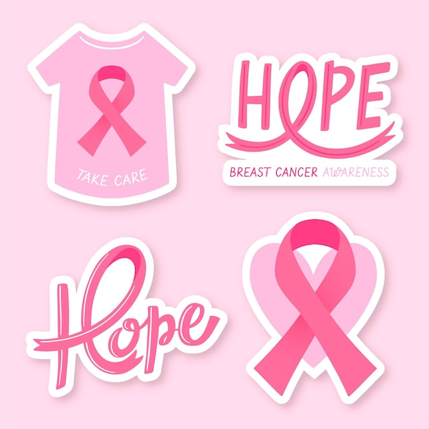 Collection ofcancer awareness month labels Premium Vector