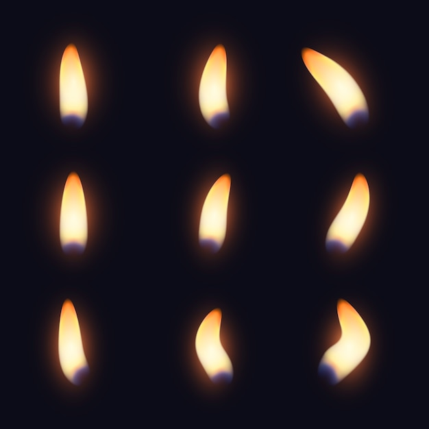 Collection of candle flames in the dark Free Vector